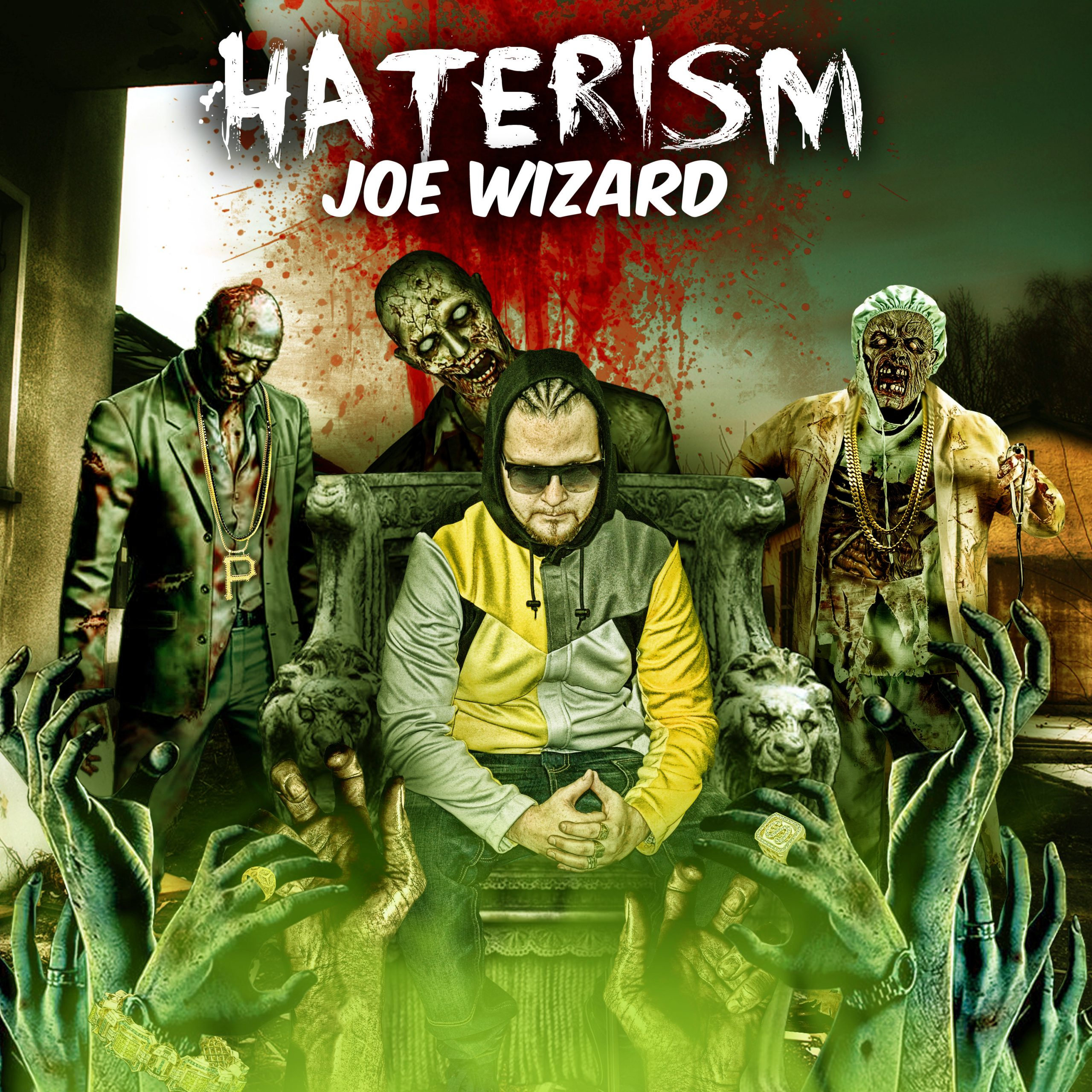 Joe Wizard Haterism cover is him surrounded by zombies