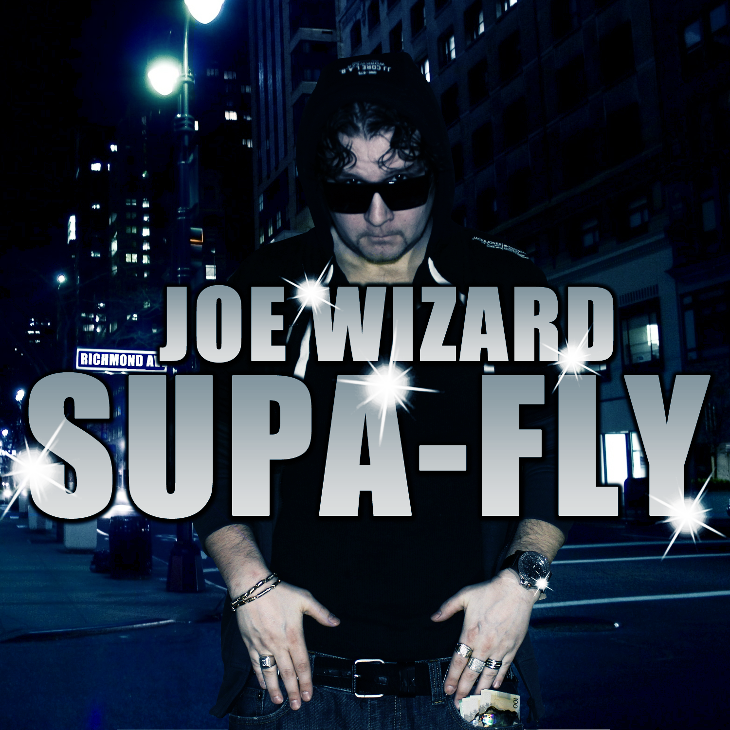 Joe Wizard Supa Fly cover art is Koe with his sun shades on like a cool cat