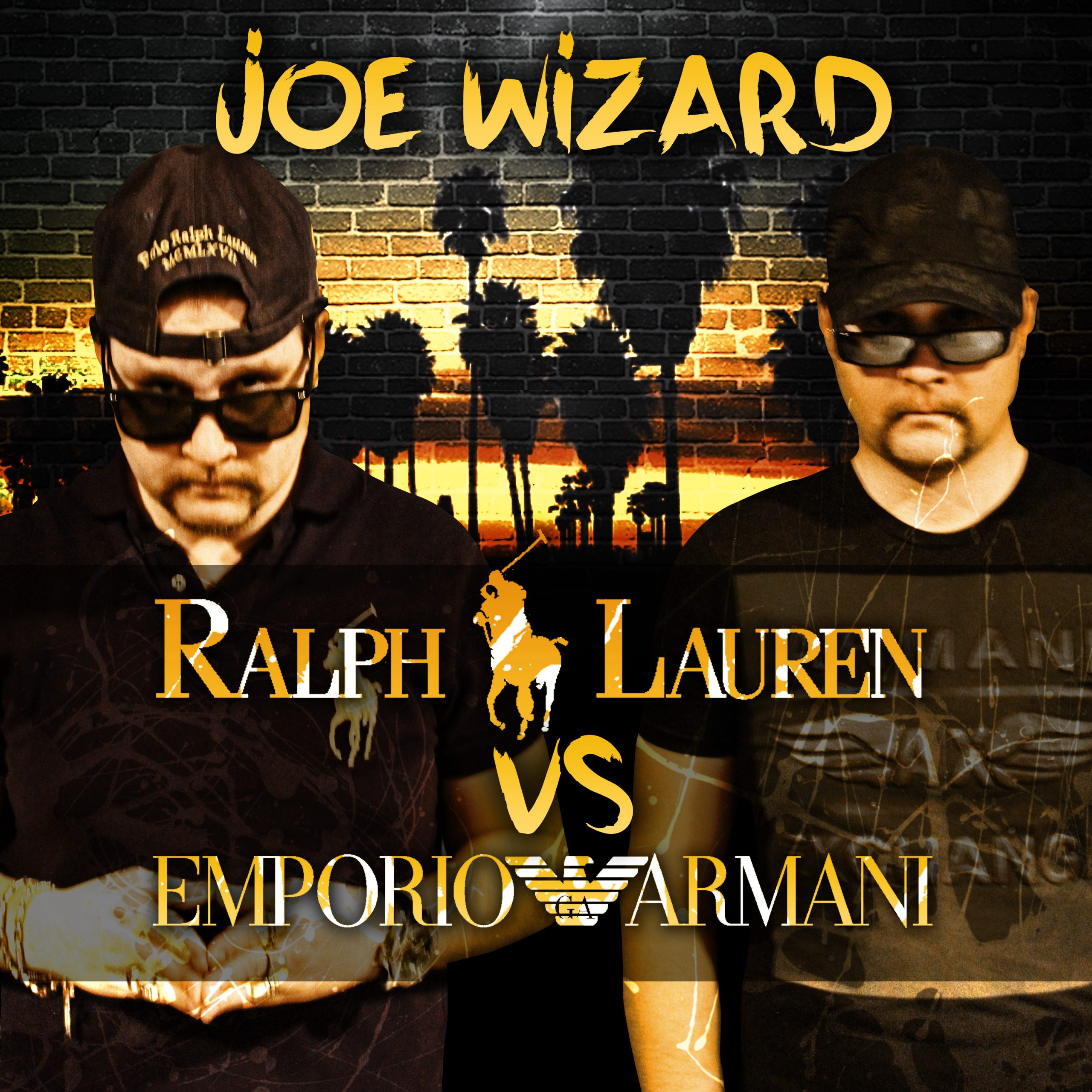 Joe Wizard cover art for Polo v.s Armani is Joe in 2 outfits one polo and second armani
