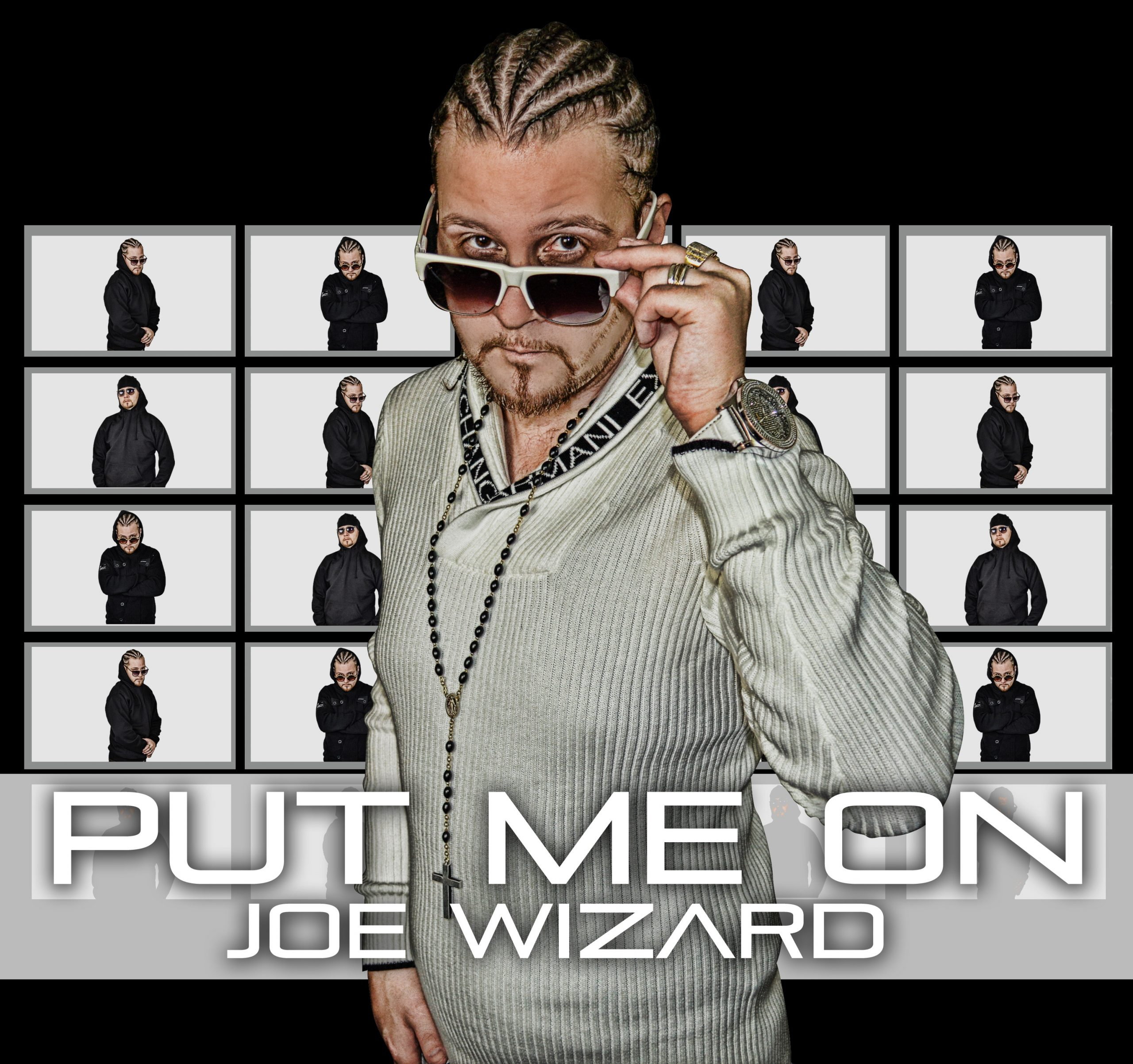 Joe Wizard cover art for Put Me One is Je in all white but theres a bunch of replicas how him in the background in black