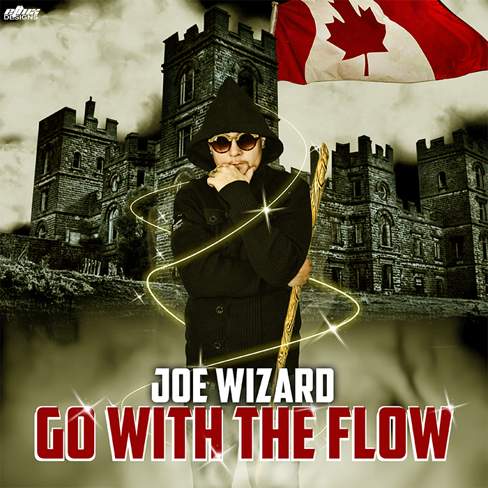 Joe Wizard cover art for Go With The Flow is Joe standing in front of a castle