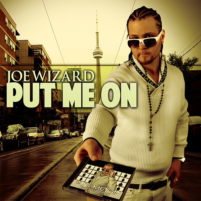 Joe Wizard front cover art for his Album Put Me On holding a cd handing it out